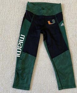 Adidas Women's Miami Hurricanes 3/4 Tights Leggings Sz. Small NEW BP6027