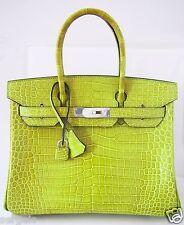 MINT! Lovely Hermes Birkin 30 cm VERT ANIS Grass Green Tote Bag Porosus Croco