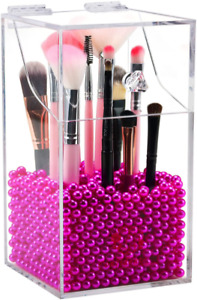 Clear Cosmetic Brush Organizer,Acrylic Brush Holder with Lid,Dust-proof Makeup B