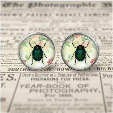 Little Green Beetle 12mm Design Glass Art Stud Earrings Shabby Chic Design