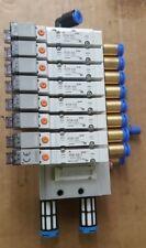 SMC MANIFOLD W/ X7 SY3140-5L0Z + X1 SY3140-5L0U-Q  SOLENOID VALVES (BR2.2B6)