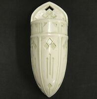 """Roseville Antique Old Ivory Wall Pocket Green Tint Arts & Crafts Style 10"""""""