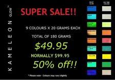 9 COLOUR MULTI GLOW PACK!! SUPER SALE!!! A HUGE 180 GRAMS!! Glow Pigment Powder