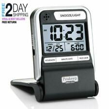 Peakeep Small Battery Travel Alarm Clock, Ascending Beep, Battery Small Digital