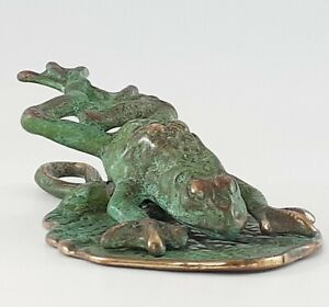 Virginia METALCRAFTERS Brass Verdigris Frog Lily Pad Note - Paper Clip EXCELLENT