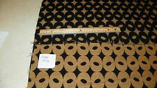 Black Gold Circle Print Jacquard Upholstery Fabric Remnant  F1338