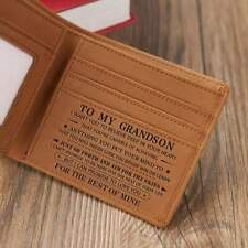 To Son Grandson Customized Engraved Leather Wallet for Birthday Christmas Gift