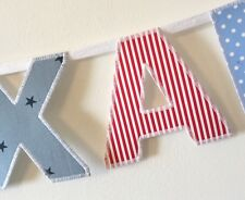 Boys Personalised Name Bunting ~ Red White & Blue Fabric Mix