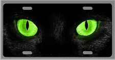 L@@K! Cat Eyes License Plate Auto Tag - Black with Green eyes