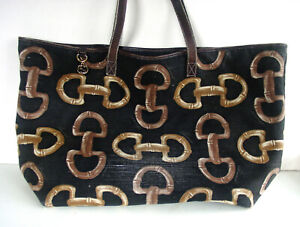 AUTH GUCCI BROWN LOGO/HORSEBIT CANVAS/LEATHER X-LARGE PURSE/TOTE - ITALY- RARE!!