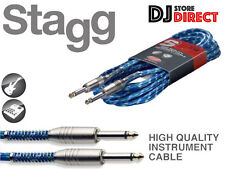 Stagg 6M Vintage Tweed Guitar Bass Instrument Cable Quality - BLUE - FREE P&P