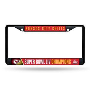 Kansas City Chiefs Super Bowl LIV Champions BLACK Metal License Plate Frame