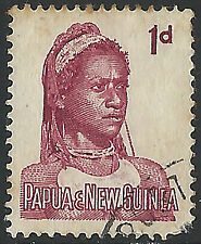PNG 1961  1d Goroka Female FUH  (9)  Some rust and staining, space filler