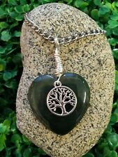 Wire Wrapped Green Olive Agate Gemstone Tree Of Life Pendant Necklace On Chain