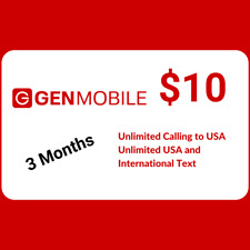 New listing Gen Mobile $10 Plan Unlimited Text & Calling 3 Months Sim