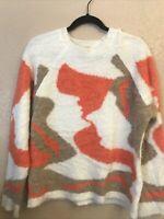 Camaieu White Orange Tan Abstract Pattern Sweater Medium/Large Super Soft