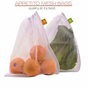 NEW APPETITO REUSABLE PRODUCE BAGS Fruit Vegetable Bag Keeper Eco Mesh SET 5