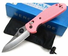 *BENCHMADE MINI GRIPTILIAN PINK HANDLE SATIN PLAIN HOLLOW GROUND KNIFE 555HG-PNK