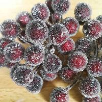 48 x Frost Kranz binden Beeren Attrappen Dekoration Kunstobst Obst Dekoobst Rot