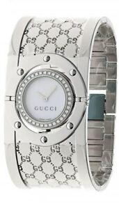 GUCCI 112 Twirl 33MM SS White MOP Diamond Pave Women's Watch YA112415