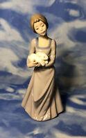 """Nao by Lladro """"Precious Bundle"""" Glazed Lady w/ Bunny Rabbit Figurine #1168 EUC"""