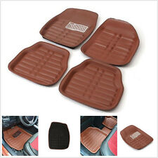5Pc Black Leather Floor Mats Front Rear in Black All Weather Interior Mat Carpet