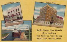 Postcard Park Hotel + Ojibway Hotel Overlooking Soo Locks Sault Ste Marie MI