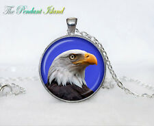 EAGLE white blue black bird Tibet silver Cabochon glass pendant chain Necklace