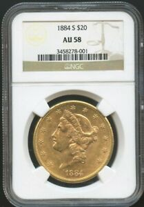 1884 S $20 Gold Liberty Double Eagle AU 58 NGC, Near Mint, Better Date!