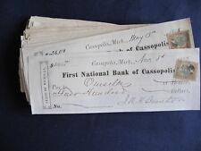 1875-7 Cassopolis Michigan First National Bank Receipt w. Stamp Lot of 95