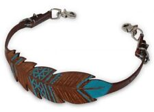Showman TEAL Hand Painted FEATHER Cutout Design Leather Adjustable WITHER STRAP