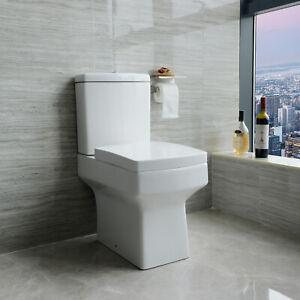 Bathroom Ceramic Close Coupled Square Toilet White Soft Close Dual Flush Modern