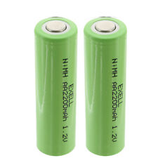 2x Exell 1.2V AA 2200mAh Rechargeable NIMH Flat Top Batteries FAST USA SHIP