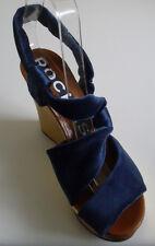 ROCHAS Designer Paris Navy Gold Platform Wedge Heels Sandal Size EU 37 RRP £470