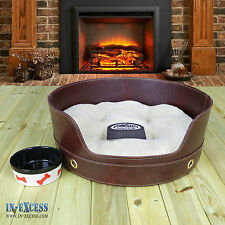 Snoozers Faux Leather Pet Bed Tub Dog Cat Small 45 x 18cm Luxury Style