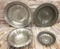 Lot of 4 Antique Mixed Finck Neff Pewter Bowls Dishes Flared Stamped Scalloped