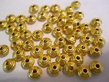 120 ANTIQUE GOLDEN PLATED 5mm BICONE SPACER BEADS BARS BRACELET