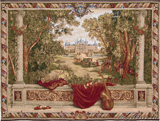 """Verdure au Chateau Castle View Scene Violin Large Tapestry Wall Hanging 52""""x76"""""""