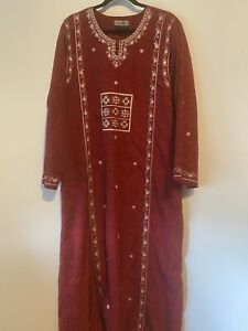 Egyptian Galabeya Kaftan Hand-Embroidered Maxi Long Dress Rhinestones L XL