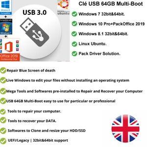 Multiboot Windows 10/8.1/7 | Linux| 64GB USB| WinPe 10 Repair&Recover Tools