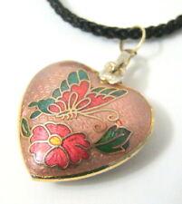 Cloisonne Heart Pendant Necklace Pink Butterfly & Flower Gold Trim Silk Cord