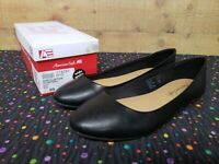 American Eagle WW CLINTON 178281 Black Women's Flat Shoes Size 6W New With Box