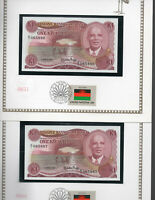 Malawi Banknote 1986 1 Kwacha P 19a UNC with UN FDI FLAG STAMP Consecutive
