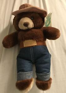 "Vintage 1985 Plush Smokey The Bear Official Licensee Three Bears Inc 12"" NOS"