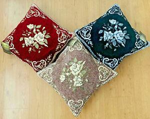 "Jacquard Chenille Cushion Covers Quality Home Decor Velvet 45cm x 45cm 18x18"""