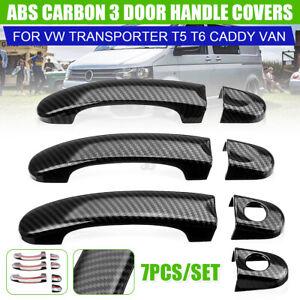 7Stk Carbon Türgriff Abdeckung Gehäuse Kappen Für VW TRANSPORTER T5 T6 CADDY Van