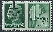 1944 RSI PROPAGANDA DI GUERRA 25 CENT VARIETà SOPRASTAMPA MH * - ED521