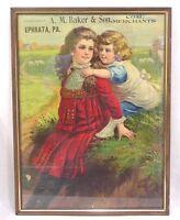 Vintage Framed Advertisement Ephrata PA Coal Merchant 1900 Brother Sister Sheep