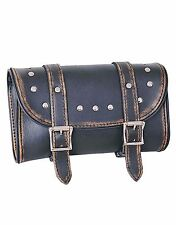 Studded Distressed Brown Genuine Leather Motorcycle Tool Bag - Unik