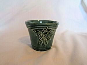 Vintage Dark Green Glaze Ivy Pot Unmarked Pottery